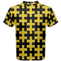 Puzzle1 Black Marble & Yellow Colored Pencil Men s Cotton Tee