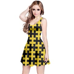Puzzle1 Black Marble & Yellow Colored Pencil Reversible Sleeveless Dress