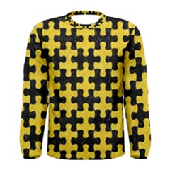 Puzzle1 Black Marble & Yellow Colored Pencil Men s Long Sleeve Tee