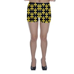 Puzzle1 Black Marble & Yellow Colored Pencil Skinny Shorts