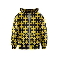 Puzzle1 Black Marble & Yellow Colored Pencil Kids  Zipper Hoodie