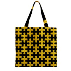 Puzzle1 Black Marble & Yellow Colored Pencil Zipper Grocery Tote Bag