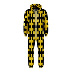 Puzzle1 Black Marble & Yellow Colored Pencil Hooded Jumpsuit (kids)