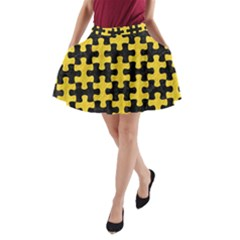 Puzzle1 Black Marble & Yellow Colored Pencil A Line Pocket Skirt
