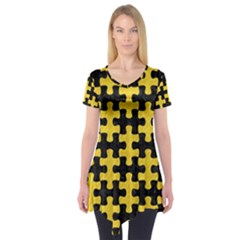 Puzzle1 Black Marble & Yellow Colored Pencil Short Sleeve Tunic
