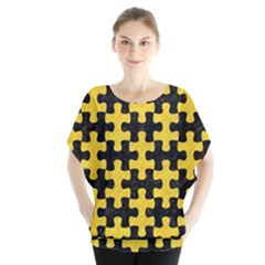 Puzzle1 Black Marble & Yellow Colored Pencil Blouse