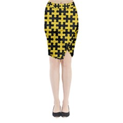 Puzzle1 Black Marble & Yellow Colored Pencil Midi Wrap Pencil Skirt