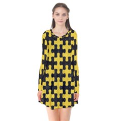 Puzzle1 Black Marble & Yellow Colored Pencil Flare Dress