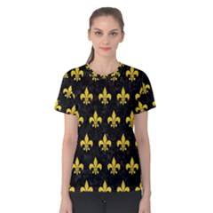 Royal1 Black Marble & Yellow Colored Pencil Women s Cotton Tee