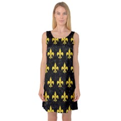 Royal1 Black Marble & Yellow Colored Pencil Sleeveless Satin Nightdress