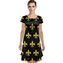 Royal1 Black Marble & Yellow Colored Pencil Cap Sleeve Nightdress