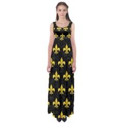 Royal1 Black Marble & Yellow Colored Pencil Empire Waist Maxi Dress