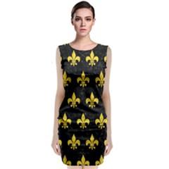 Royal1 Black Marble & Yellow Colored Pencil Classic Sleeveless Midi Dress