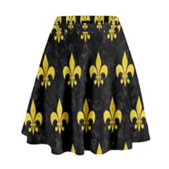 Royal1 Black Marble & Yellow Colored Pencil High Waist Skirt