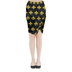 Royal1 Black Marble & Yellow Colored Pencil Midi Wrap Pencil Skirt