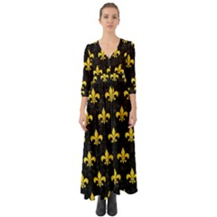 Royal1 Black Marble & Yellow Colored Pencil Button Up Boho Maxi Dress