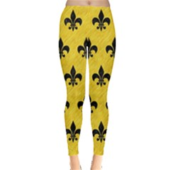 Royal1 Black Marble & Yellow Colored Pencil (r) Leggings