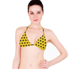 Royal1 Black Marble & Yellow Colored Pencil (r) Bikini Top