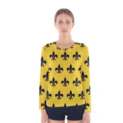 Royal1 Black Marble & Yellow Colored Pencil (r) Women s Long Sleeve Tee