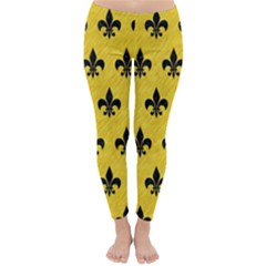 Royal1 Black Marble & Yellow Colored Pencil (r) Classic Winter Leggings