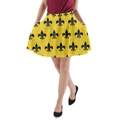 Royal1 Black Marble & Yellow Colored Pencil (r) A Line Pocket Skirt