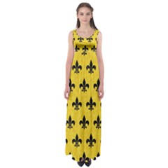 Royal1 Black Marble & Yellow Colored Pencil (r) Empire Waist Maxi Dress