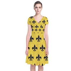 Royal1 Black Marble & Yellow Colored Pencil (r) Short Sleeve Front Wrap Dress
