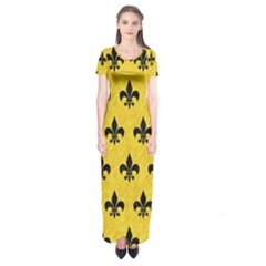Royal1 Black Marble & Yellow Colored Pencil (r) Short Sleeve Maxi Dress