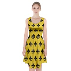 Royal1 Black Marble & Yellow Colored Pencil (r) Racerback Midi Dress