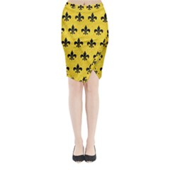 Royal1 Black Marble & Yellow Colored Pencil (r) Midi Wrap Pencil Skirt