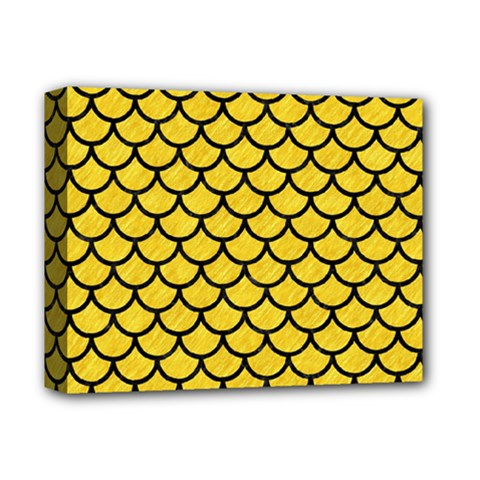 Scales1 Black Marble & Yellow Colored Pencil Deluxe Canvas 14  X 11