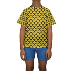 Scales1 Black Marble & Yellow Colored Pencil Kids  Short Sleeve Swimwear