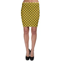 Scales1 Black Marble & Yellow Colored Pencil Bodycon Skirt