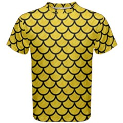 Scales1 Black Marble & Yellow Colored Pencil Men s Cotton Tee