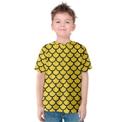Scales1 Black Marble & Yellow Colored Pencil Kids  Cotton Tee