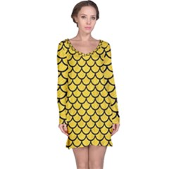 Scales1 Black Marble & Yellow Colored Pencil Long Sleeve Nightdress