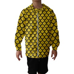Scales1 Black Marble & Yellow Colored Pencil Hooded Wind Breaker (kids)