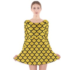 Scales1 Black Marble & Yellow Colored Pencil Long Sleeve Velvet Skater Dress