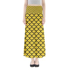 Scales1 Black Marble & Yellow Colored Pencil Full Length Maxi Skirt