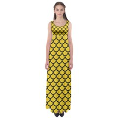 Scales1 Black Marble & Yellow Colored Pencil Empire Waist Maxi Dress