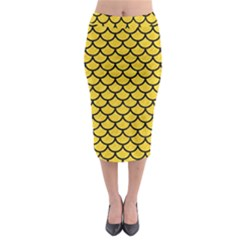 Scales1 Black Marble & Yellow Colored Pencil Midi Pencil Skirt