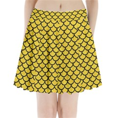 Scales1 Black Marble & Yellow Colored Pencil Pleated Mini Skirt