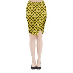 Scales1 Black Marble & Yellow Colored Pencil Midi Wrap Pencil Skirt