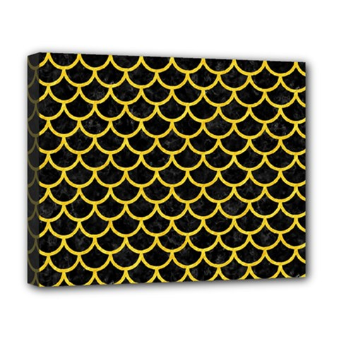 Scales1 Black Marble & Yellow Colored Pencil (r) Deluxe Canvas 20  X 16