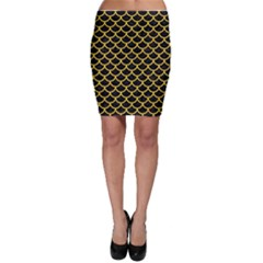 Scales1 Black Marble & Yellow Colored Pencil (r) Bodycon Skirt