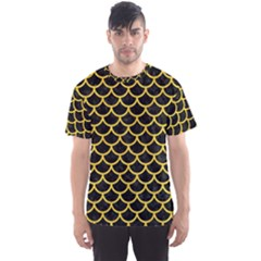 Scales1 Black Marble & Yellow Colored Pencil (r) Men s Sports Mesh Tee