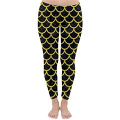 Scales1 Black Marble & Yellow Colored Pencil (r) Classic Winter Leggings