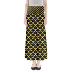 Scales1 Black Marble & Yellow Colored Pencil (r) Full Length Maxi Skirt