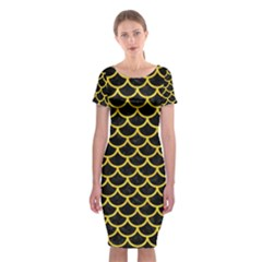 Scales1 Black Marble & Yellow Colored Pencil (r) Classic Short Sleeve Midi Dress