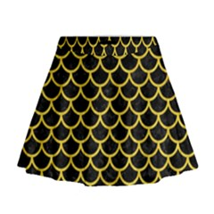 Scales1 Black Marble & Yellow Colored Pencil (r) Mini Flare Skirt